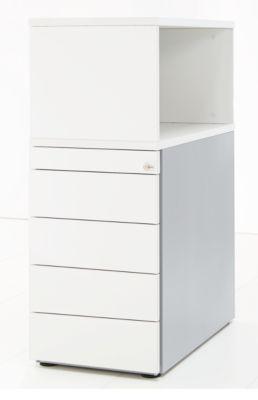 Vaste ladeblok met opzetkast, afsluitbaar, greeploos, wit