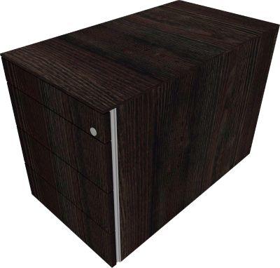 Vaste ladeblok SOLUS PLAY, 3 x 4 HE, greeploos, b 430 x d 800 x h 720 mm, Moor-eiken
