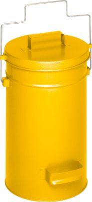 Veiligheidsafvalbak met deksel, geel