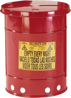 Veiligheidsafvalbak  van plaatstaal, voor poetsdoeken, met voetpedaal, 34 liter, rood