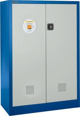 Veiligheidskast, B 950 x D 500 x H 1950 mm, 3 lekbakken, blauw