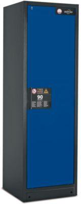 Veiligheidskast type 90, b 600 mm, deur rechts, 3 legb., blauw
