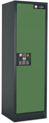 Veiligheidskast type 90, b 600 mm, deur rechts, 6 laden, groen