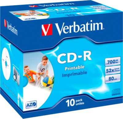 Verbatim CD-R Datalife plus printable, Kapazität 700 MB, bedruckbar, 10er Jewel Case