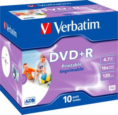 Verbatim® DVD+R, bis 16fach, 4,7 GB/120 min, 10 JewelCases