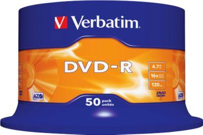 Verbatim® DVD-R, bis 16fach, 4,7 GB/120 min, 50er-Spindel