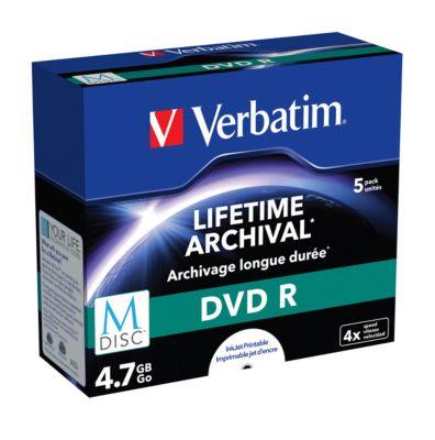 Verbatim DVD-Rohlinge M-Disc DVD, bedruckbar, 4,7 GB, Jewelcase, 5 Stück