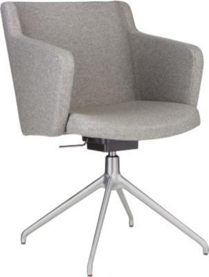 Vergaderstoel Sitness 1.0, driedimensionele zitting, hoogteverstelbaar, draaibaar, lichtgrijs
