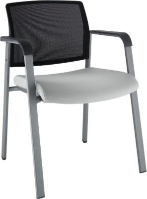 Vergaderstoel vierpoot, grijs/zwart
