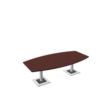 Vergadertafel Quandos, bootvorm, handmatig hoogteverstelbaar, B 2400 x D 1200 x H 720-820 mm, ahorn-Brazil