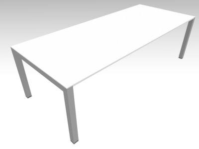 Vergadertafel SOLUS PLAY, 4 poten, handmatig in hoogte verstelbaar, B 2400 x D 1000 x H 720-820 mm, wit