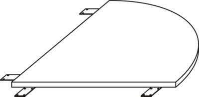 Verkettungsplatte LOGIN, gerundet, für C-Fuß Schreibtisch LOGIN, B 800 x T 800 x H 740 mm, weiß