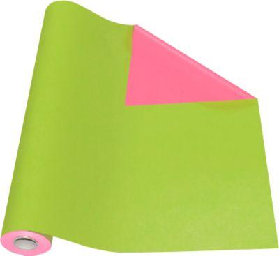 Verpakkingspapier groen/roze, rol L 50 m x B 500 mm, aan beide zijden te gebruiken.