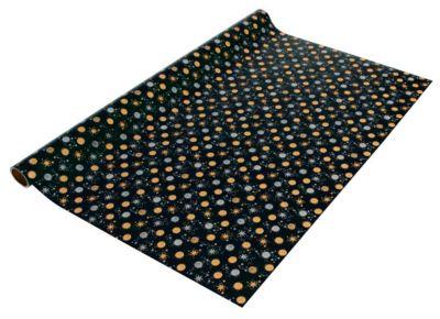 Verpakkingspapier Sigel Sterrenstof, L 5 m x B 70 cm, zwart met goud-zilveren sterretjes/cirkels, 1 rol