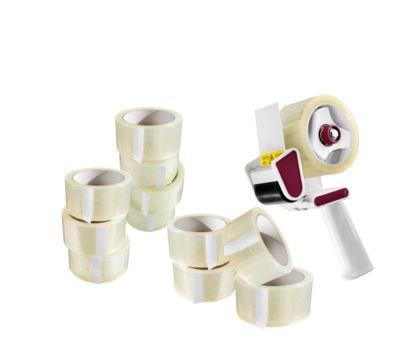Verpakkingstape - 6 rollen - transparant, + 1 plakbandafroller gratis