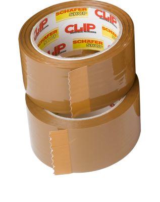 Verpakkingstape clip, L 66 m x B 50 mm, 50µ totale dikte, met dispenser, PP-folie, bruin, 12 rollen, 12 rollen