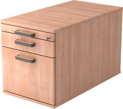 Verrijdbaar ladeblok TOPAS LINE, 1 schuiflade, 1 hangmappenlade, 1 materiaallade, d 800, notenboom/notenboom