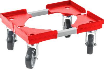 Verrijdbaar onderstel, kunststof wielen, L 400 x B 300 x H 125 mm, rood