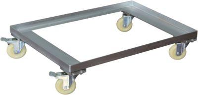 Verrijdbaar onderstel voor EURO-bakken, verzinkt, L 800 x B 600 x H 90 mm