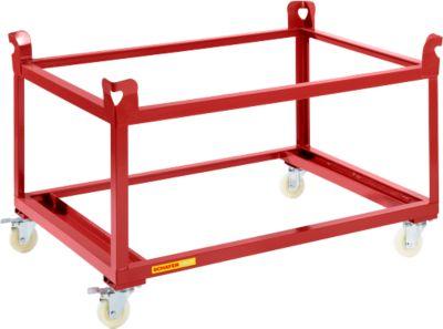 Verrijdbaar palletonderstel, 1210 x 805 mm, rood