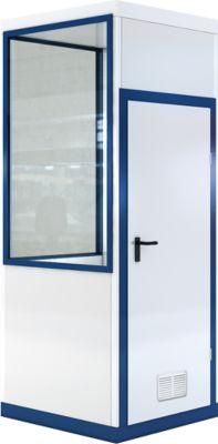 Verrijdbaar ruimtesysteem WSM, L 1045 x B 1045 mm, voor gebruik binnenshuis, zonder vloer, grijswit RAL 9002/enziumblauw RAL 5010