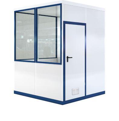 Verrijdbaar ruimtesysteem WSM, L 2045 x B 2045 mm, voor gebruik binnenshuis, zonder vloer, grijs wit RAL 9002/enziumblauw RAL 5010