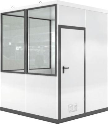Verrijdbaar ruimtesysteem WSM, L 2045 x B 2045 mm, voor gebruik binnenshuis, zonder vloer, grijswit RAL 9002/anthr.grey RAL 7016