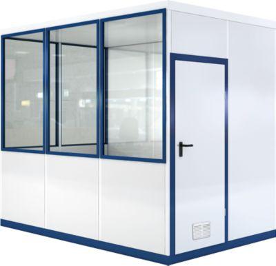 Verrijdbaar ruimtesysteem WSM, L 3045 x B 2045 mm, voor gebruik binnenshuis, zonder vloer, grijs wit RAL 9002/enziumblauw RAL 5010