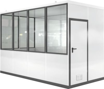 Verrijdbaar ruimtesysteem WSM, L 4045 x B 2045 mm, voor buitenmontage, met vloer, met grijswitte RAL 9002/ anthr.grey RAL 7016