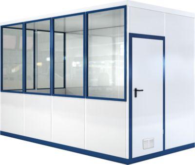 Verrijdbaar ruimtesysteem WSM, L 4090 x B 3045 mm, voor buitenmontage, met vloer, met grijswitte RAL 9002/enziumblauw RAL 5010