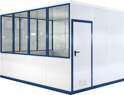 Verrijdbaar ruimtesysteem WSM, L 4090 x B 3045 mm, voor gebruik binnenshuis, zonder vloer, grijs wit RAL 9002/enziumblauw RAL 5010