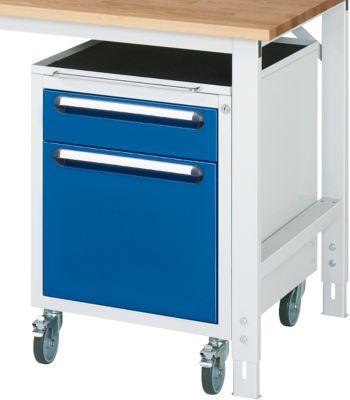 Verrijdbare container , 2 laden met hoogte 1x 120 mm en 1x 360 mm voor hangmappen, licht grijs/gentiaanblauw, met wielen