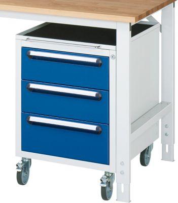 Verrijdbare container ,3 laden met hoogte 2x 150 mm en 1x 180 mm, licht grijs/gentiaanblauw, met wielen