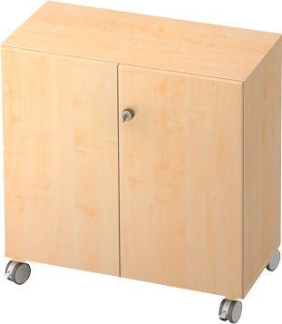 Verrijdbare kast TOPAS LINE, 2 ordnerhoogten, afsluitbare deuren, esdoorndecor/esdoorndecor