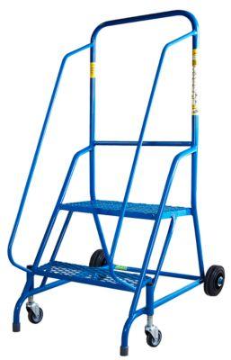 Verrijdbare trapladder, blauw, stalen frame, 2 zwenkwielen en 2 wieltjes, 2 treden van stalen rooster