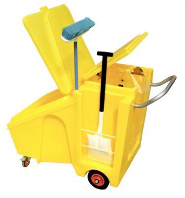 Verrijdbare trolley van polyethyleen voor gevaarlijke stoffen en vloeistoffen voor met zakhouder, met scharnierend deksel, 230 liter