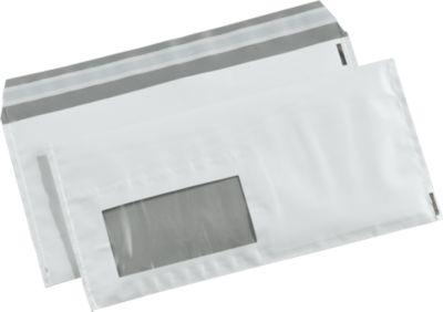 Versandtaschen DEBASECURA, DIN lang, 235 x 110 mm, weiß/silber