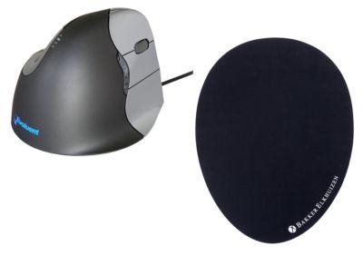 Verticale muis BakkerElkhuizen Evoluent4, bedraad, voor rechtshandigen, zwart/zilver, + Mauspad Het ei