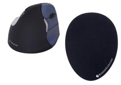 Verticale muis BakkerElkhuizen Evoluent4, draadloos, voor rechtshandigen, zwart/blauw, + muismat Het Ei