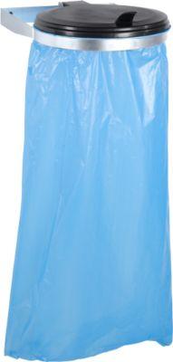 Verzinkte vuilniszakhouder voor wandmontage + 10 Secolan® ecologische vuilniszakken, 120 liter, blauw