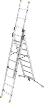Vielzweckleiter Hailo ProfiLOT, EN 131, LOT-System, Treppen verstellbar bis 540 mm, bis 150 kg, 3 x 12