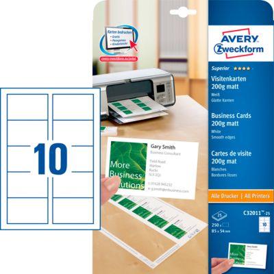 Visitenkarten Quick&Clean Technologie, 200 g, weiß, 250 Etiketten