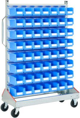 Visuele controle trolley BITO, voor open opbergbakken met voorzijde, enkelzijdig, B 1130 x D 510 x H 1705 mm, 56 x 3 l blauw, voor open opbergbakken, 56 x 3 l blauw