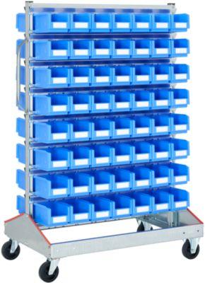 Visuele controle trolley voor open magazijnbakken met voorzijde, tweezijdig, B 1130 x D 710 x H 1705 mm, 112 x 3 l blauw, voor open magazijnbakken, 112 x 3 l blauw