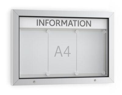 Vitrine BSM, liggend formaat, B 750 x D 70 x H 500 mm, voor binnen en buiten, afsluitbaar, incl. 10 magneten & schrijfstrip.
