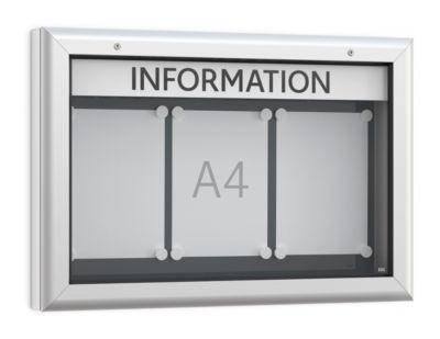 Vitrine BSM, liggend formaat, B 800 x D 45 x H 545 mm, voor binnen en buiten, afsluitbaar, achterwand antraciet