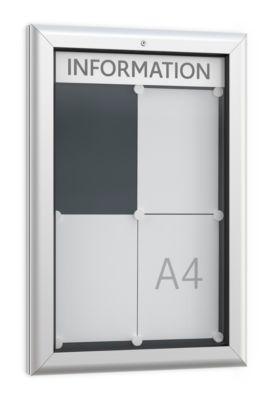 Vitrine BSM, staand formaat, B 545 x D 45 x H 800 mm, voor binnen en buiten, afsluitbaar, achterwand antraciet