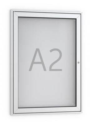 Vitrinekast voor posters, rechte hoeken, aluminium/zilver kleur, 1 slot, A2