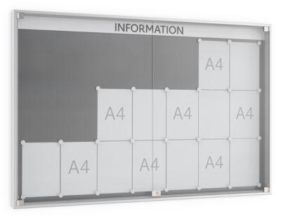 vitrinekaste met draaideur, 60 mm diep, 7 x 3, alu.-zilver