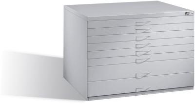 Vlakke kast van staal, voor formaten tot en met DIN A1, 8 laden
